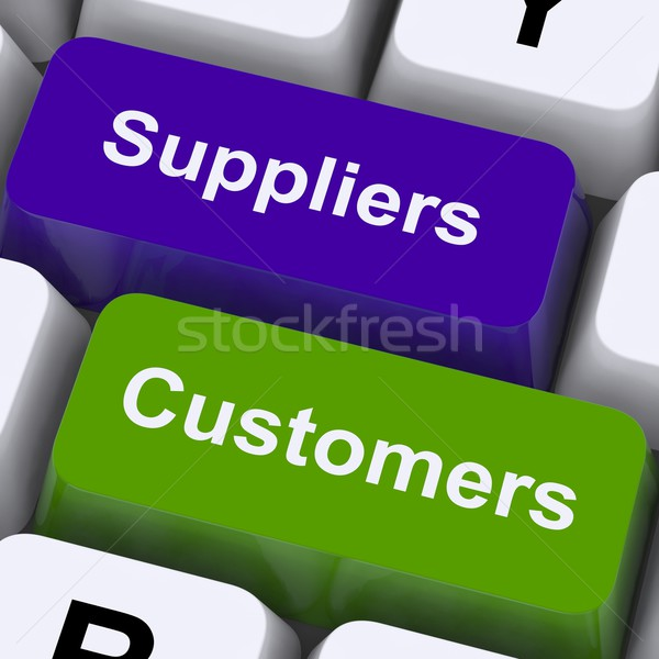 Suppliers And Customers Keys Show Supply Chain Or Distribution Stock photo © stuartmiles