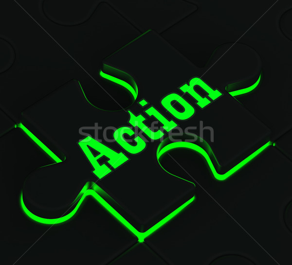 Action Puzzle Showing Motivation And Activism Stock photo © stuartmiles