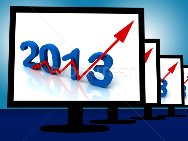 2013 On Monitors Shows Monetary Increase And Forecasting Stock photo © stuartmiles