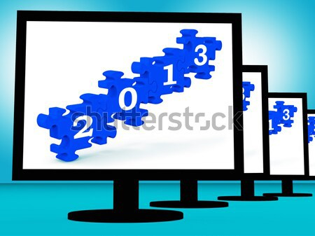 Unfinished Puzzle On Monitors Showing Lost Pieces Stock photo © stuartmiles