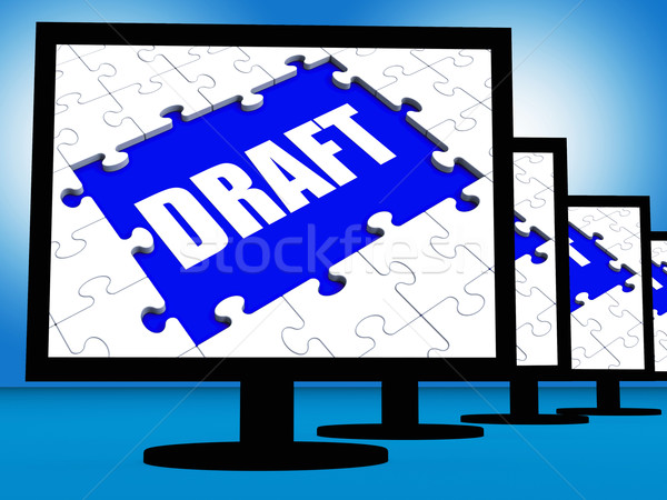 Draft Screen Shows Outline Documents Or Email Letter Online Stock photo © stuartmiles
