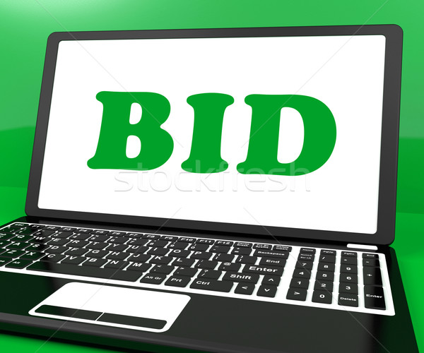 Bid On Laptop Shows Bidder Bidding Or Auction Online Stock photo © stuartmiles
