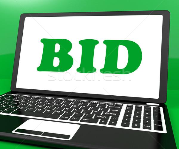 Stockfoto: Bod · laptop · veiling · online · tonen