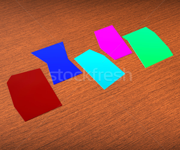 Five Blank Paper Slips Show Copyspace For 5 Letter Word Stock photo © stuartmiles