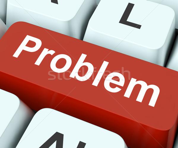 Probleem sleutel moeilijkheid moeite toetsenbord betekenis Stockfoto © stuartmiles
