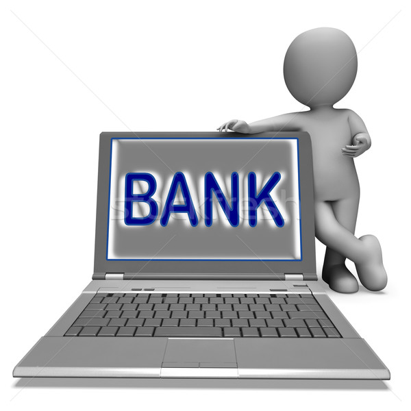Bank On Laptop Shows Internet Or Electronic Banking Online Stock photo © stuartmiles
