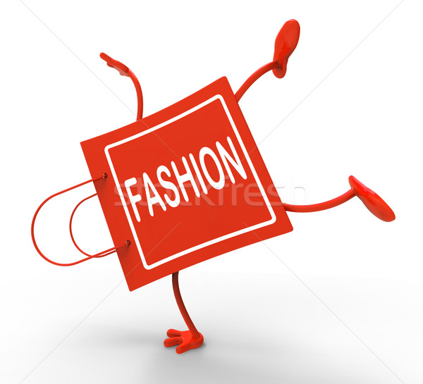 Handstand Fashion Shopping Bag Shows Fashionable Trendy And Styl Stock photo © stuartmiles