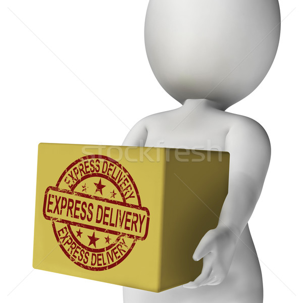 Express Delivery Box Means Sends And Delivers Quickly Stock photo © stuartmiles