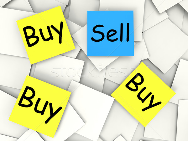 Buy Sell Post-It Notes Mean Sellers And Consumers Stock photo © stuartmiles