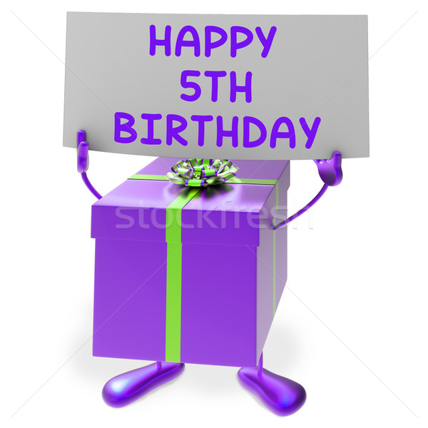Happy 5th Birthday Sign and Gift Show Fifth Party Stock photo © stuartmiles