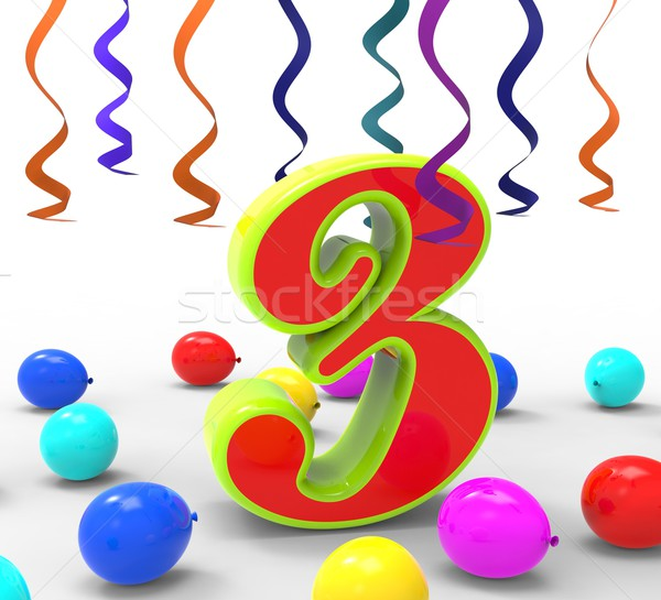 Number Three Party Shows Creativity And Multi Coloured Garlands Stock photo © stuartmiles