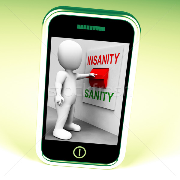 Insanity Sanity Switch Shows Sane Or Insane Psychology Stock photo © stuartmiles
