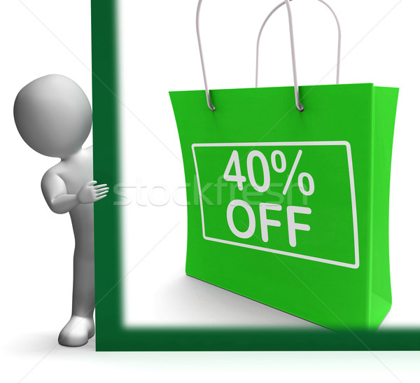 Stock photo: Forty Percent Off Shopping Bag Shows Reduction
