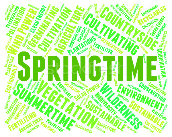 Bahar kelime metin sıcaklık sözler sezon Stok fotoğraf © stuartmiles