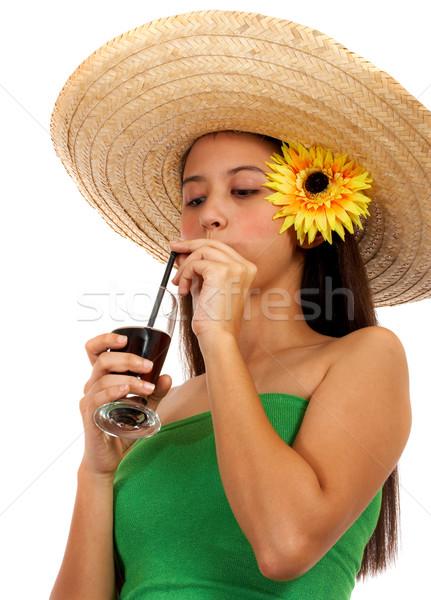 Menina bebida fria verão calor beber Foto stock © stuartmiles