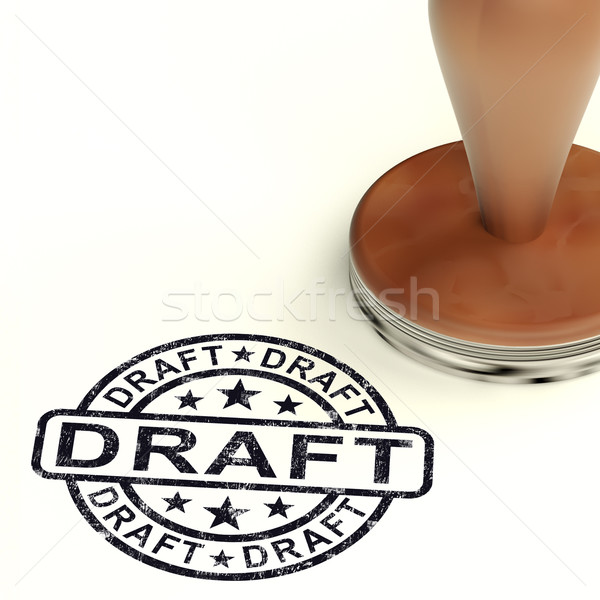 Draft Stamp Shows Outline Document Or Letters Stock photo © stuartmiles