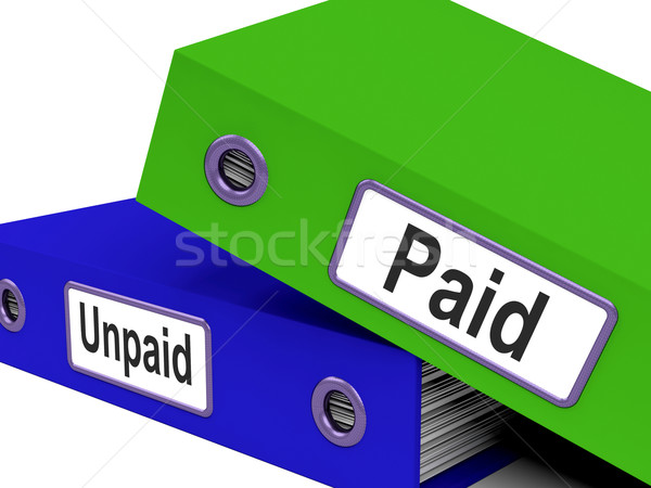 Paid Unpaid Files Shows Overdue Invoices And Bills Stock photo © stuartmiles