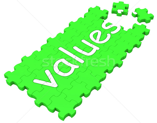 Values Puzzle Shows Principles And Morality Stock photo © stuartmiles