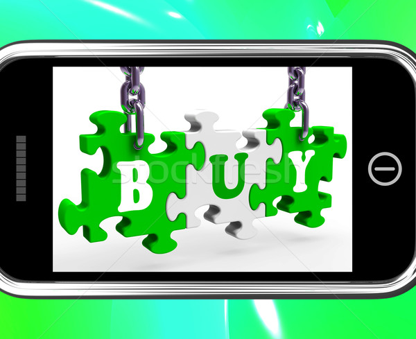 Buy On Smartphone Showing Consumerism Stock photo © stuartmiles