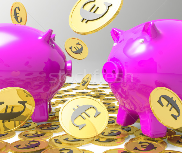 Raining Coins On Piggybanks Showing Profits Stock photo © stuartmiles