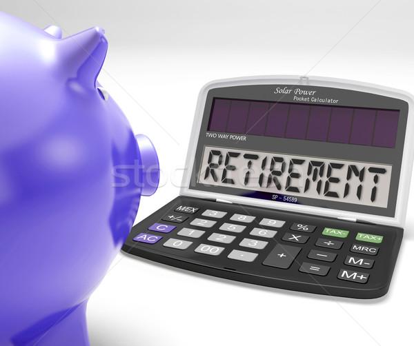 Pensioen calculator gepensioneerde gepensioneerd beslissing tonen Stockfoto © stuartmiles