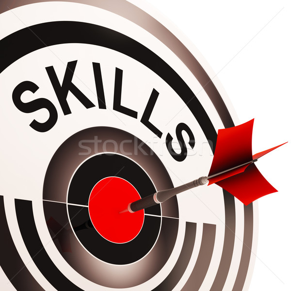 Skills Target Shows Aptitude, Competence And Abilities Stock photo © stuartmiles