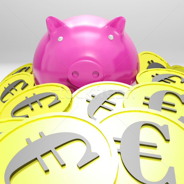 Piggybank Surrounded In Coins Showing European Incomes Stock photo © stuartmiles