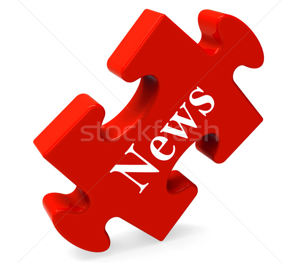 News Puzzle Shows Media Journal Newspapers And Headlines Stock photo © stuartmiles