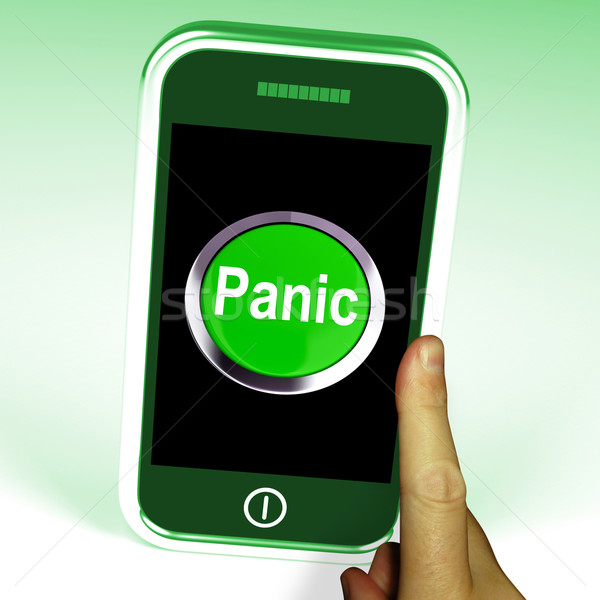 Panic Smartphone Means Anxiety Distress And Alarm Stock photo © stuartmiles