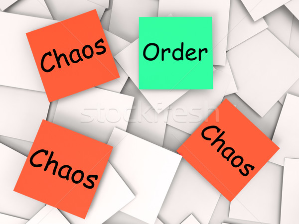 Order Chaos Post-It Notes Mean Orderly Or Chaotic Stock photo © stuartmiles