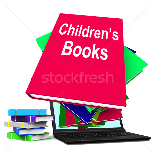 Children's Books Book Stack Laptop Shows Reading For Kids Stock photo © stuartmiles