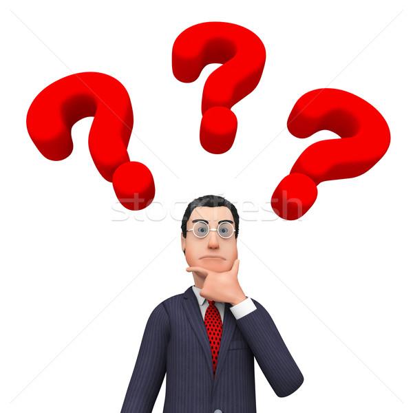 Zakenman denken vaak vragen vraagtekens tonen Stockfoto © stuartmiles