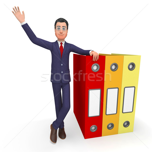 Stock photo: Businessman With Information Means Addict Files And Habit