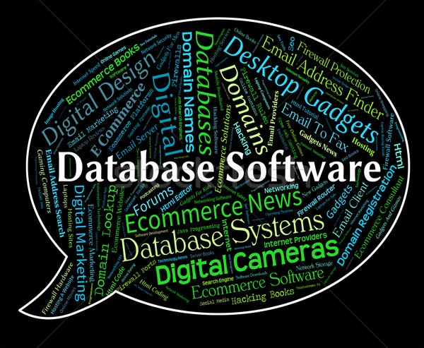 Database Software Means Text Computing And Freeware Stock photo © stuartmiles