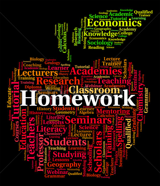 Homework Word Shows Study Assignment And Education Stock photo © stuartmiles