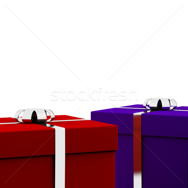 Red And Blue Gift Boxes With White Background As Presents For Hi Stock photo © stuartmiles