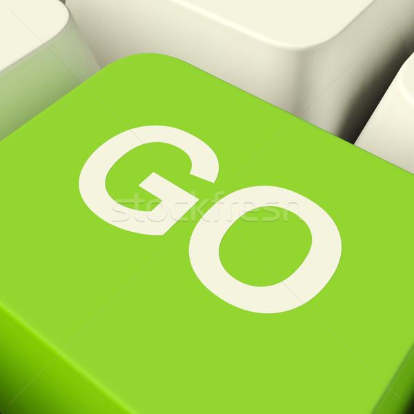 Számítógép kulcs zöld mutat igen pozitivitás Stock fotó © stuartmiles