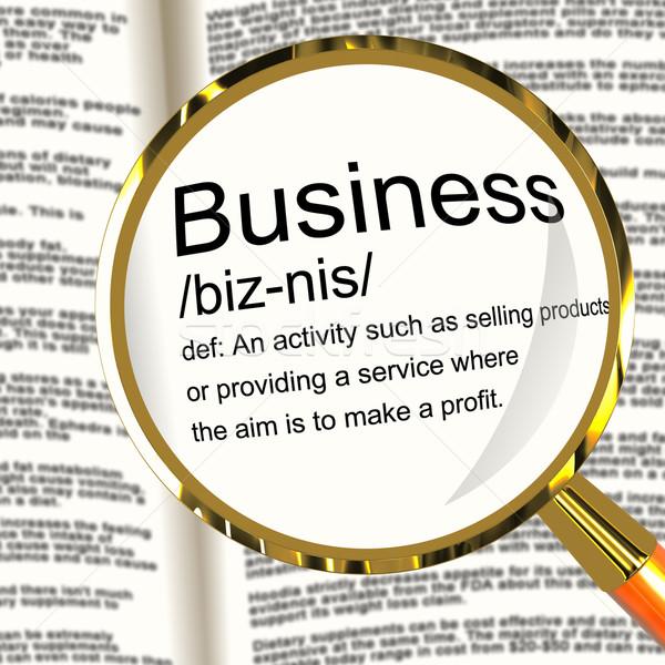 Stock fotó: üzlet · meghatározás · nagyító · mutat · gazdaság · kereskedelem