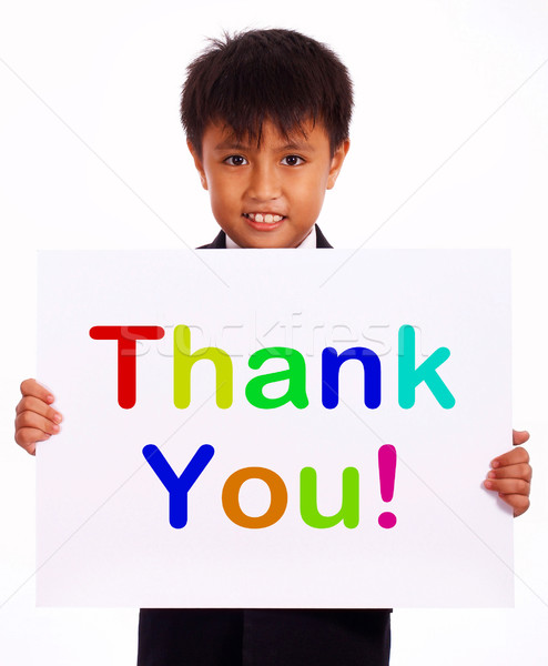 Merci signe remerciements un message Kid souriant Photo stock © stuartmiles