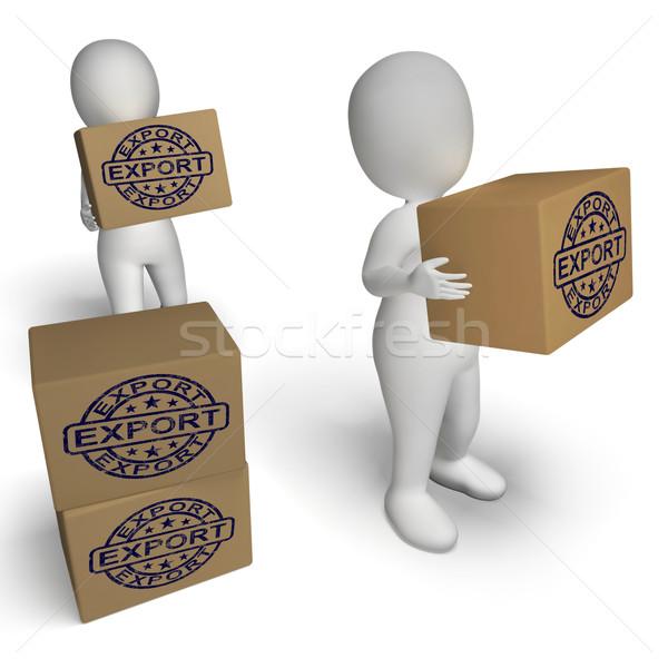 Exporter tampon cases mondial distribution expédition Photo stock © stuartmiles