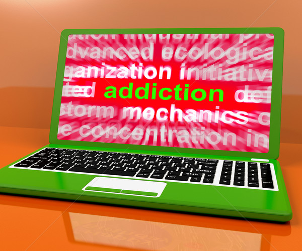 Addiction Laptop Means Obsession Craving And Attachment Online
