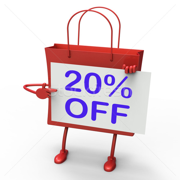 Twenty Percent Reduced On Shopping Bags Shows 20 Bargains Stock photo © stuartmiles