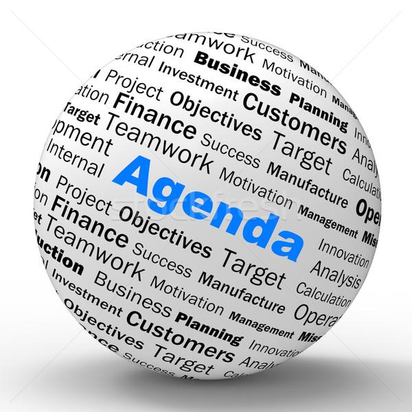 L'ordre du jour sphère définition calendrier planificateur rappel Photo stock © stuartmiles