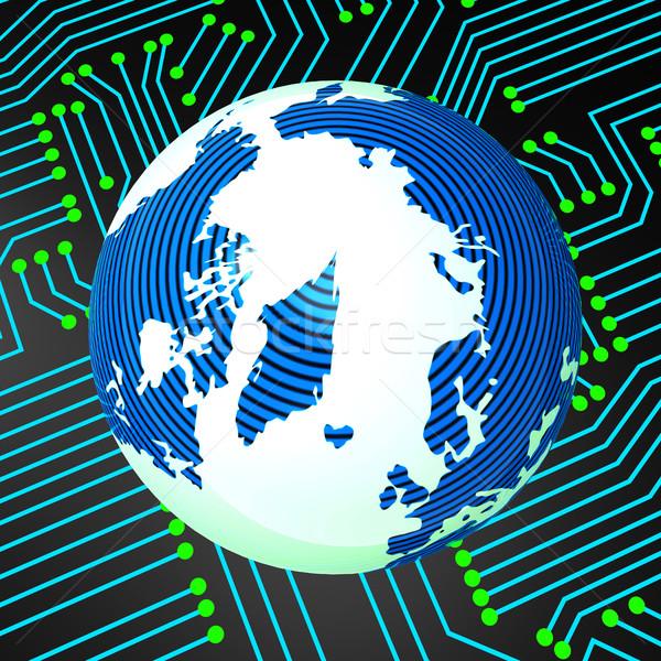 回路基板 世界的な エレクトロニクス 地球 ストックフォト © stuartmiles