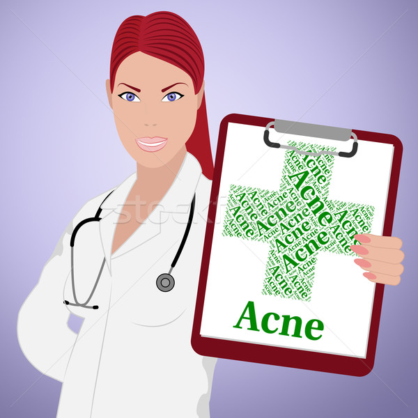 Acne Word Indicates Ill Health And Affliction Stock photo © stuartmiles