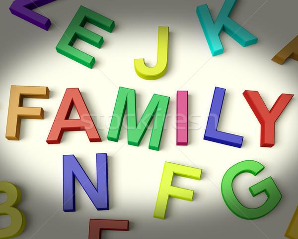 Stok fotoğraf: Aile · yazılı · plastik · çocuklar · harfler