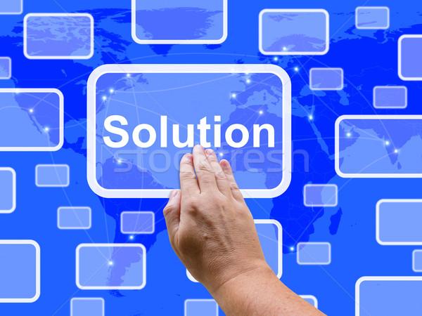 Stock fotó: Megoldás · gomb · mutat · siker · stratégia · stratégiák