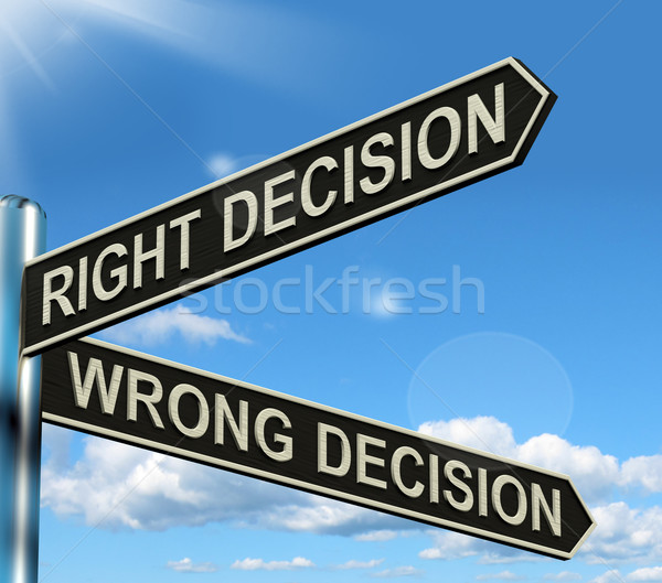 Right Or Wrong Decision Signpost Showing Confusion Outcome And C Stock photo © stuartmiles