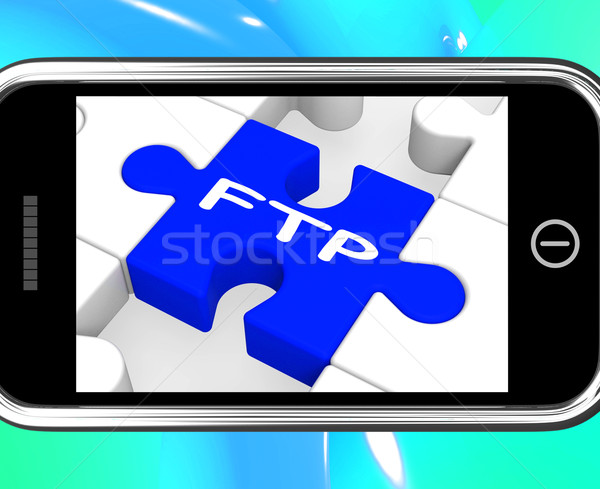 FTP On Smartphone Showing Data Transmission Stock photo © stuartmiles
