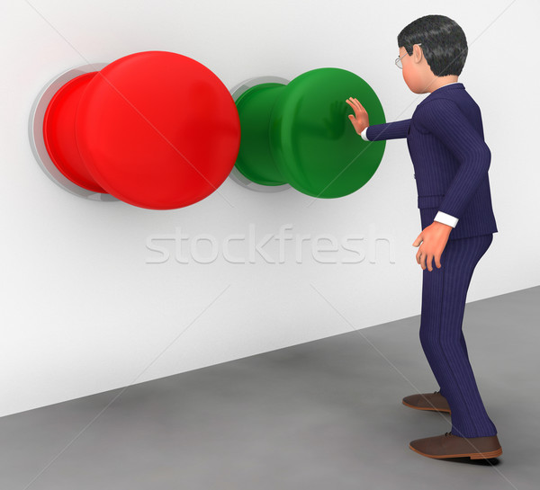 Businessman Pushes Button Shows Get Going And Activate Stock photo © stuartmiles